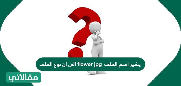 يشير اسم الملف flower jpg الى ان نوع الملف