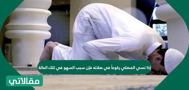 إذا نسي المصلي ركوعاً في صلاته فإن سبب السهو في تلك الحالة