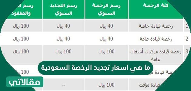ما هي اسعار تجديد الرخصة السعودية