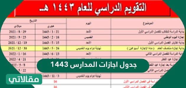 جدول اجازات المدارس 1443