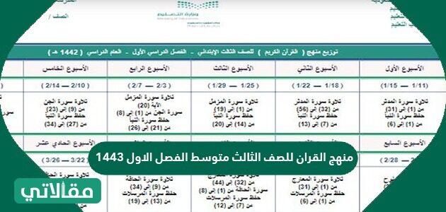 منهج القرآن للصف الثالث متوسط الفصل الأول 1443